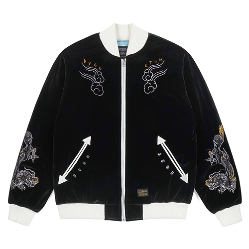[스티그마]STIGMA DRAGON VELVET SOUVENIR JACKET BLACK