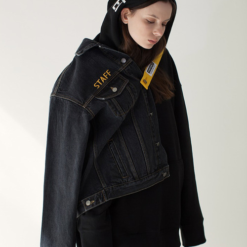 [스텝온리]남녀공용SAFETY BELT DENIM JACKET (BLACK)