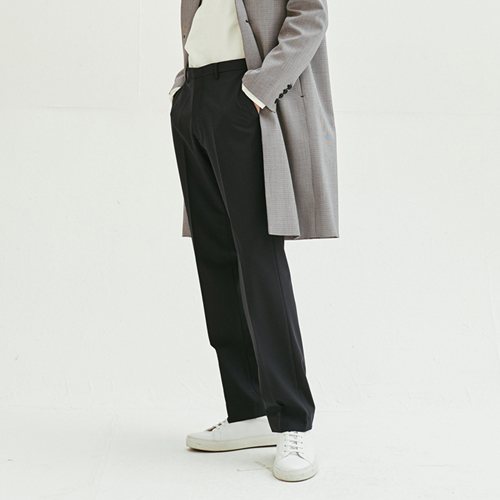 [모노소잉]Solid Wide Trouser (Dark Navy)
