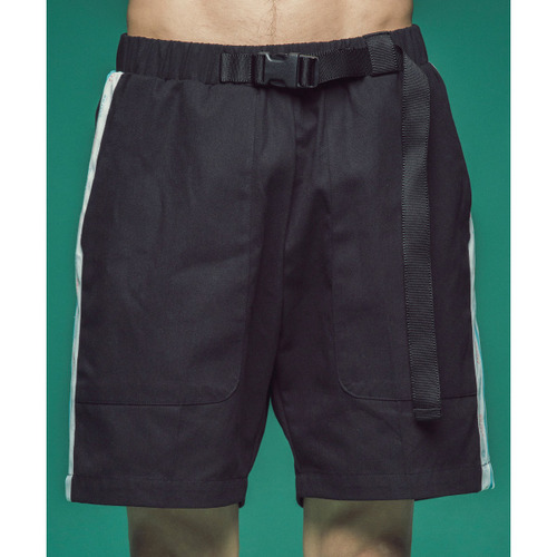 [콰이어티스트]Cotton 2/1 Tape Banding Pants (black)