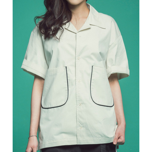 [콰이어티스트]Piping Open Collar Shirts (white)