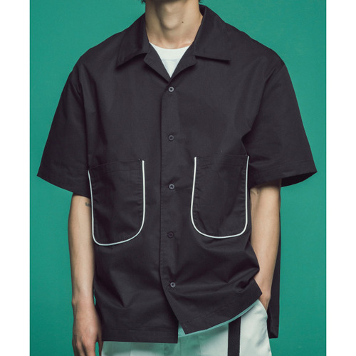 [콰이어티스트]Piping Open Collar Shirts (black)