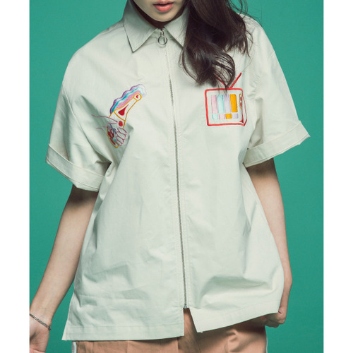 [콰이어티스트]Summer Beach Zipper-up Shirts (white)