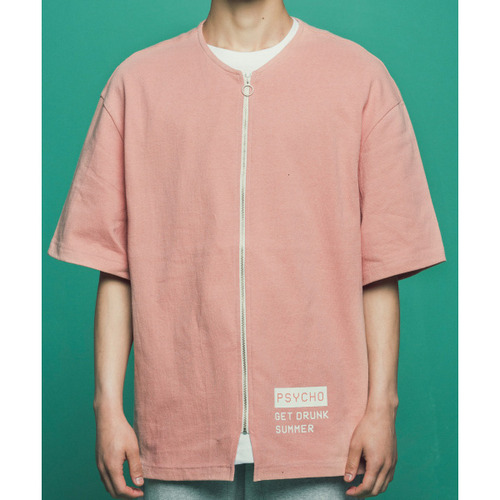 [콰이어티스트]Collar-less 2/1 Zip-up Jersey (pink)
