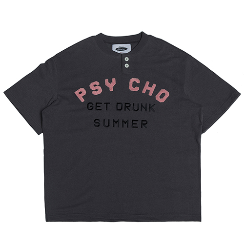[콰이어티스트]Psycho 1/2 Henley-neck T-shirts charcoal