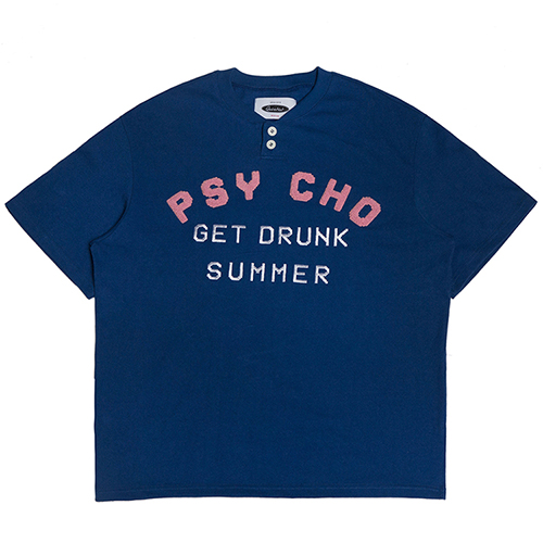 [콰이어티스트]Psycho 1/2 Henley-neck T-shirts blue