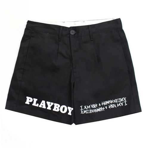 [아임낫어휴먼비잉][HBXPB] Half Rabbit Head Logo Shorts - Black