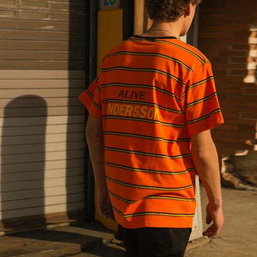 [앤더슨벨]UNISEX ALIVE STRIPE T-SHIRT atb144u Orange