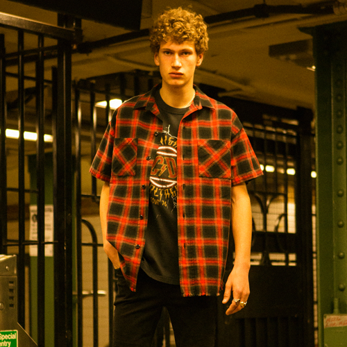 [앤더슨벨]WILSHIRE UNFINISHED CHECK SHIRT atb130m Red