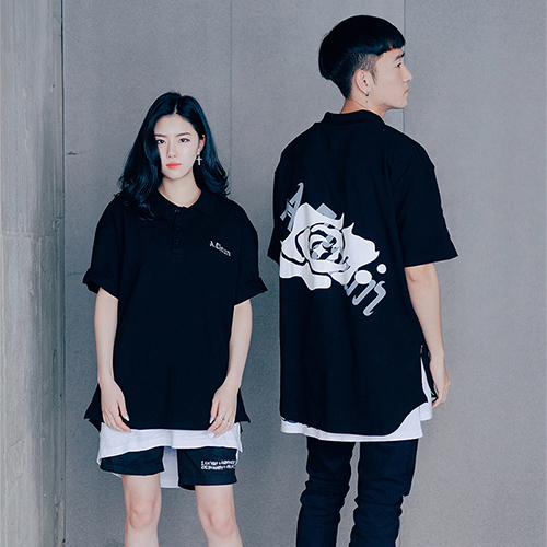 [에이클라운] Shirts-fit Side Zipper PK Half-Tee Black