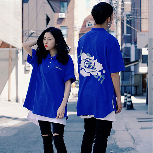 [에이클라운] Shirts-fit Side-Zipper PK Half-Tee Blue