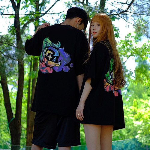 [에이클라운] Tropical Logo Half-Tee Black