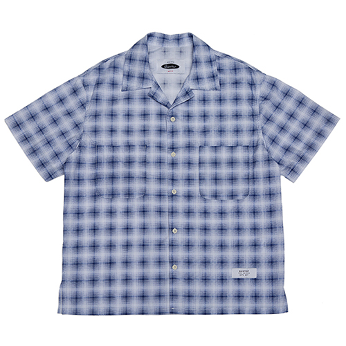 [콰이어티스트]Solid Check Open-collar Shirts blue