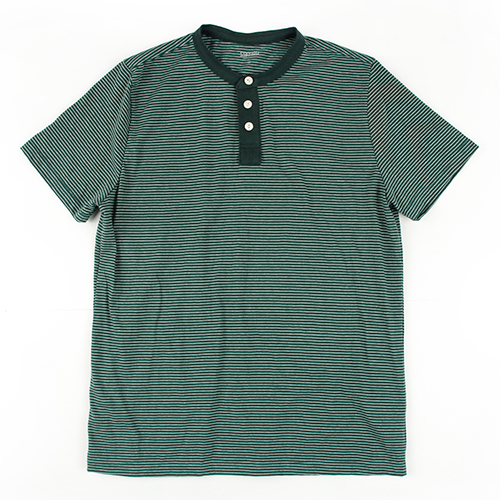 [콘보이] STRIPE COTTON 1/2 HENLEYNECK DARK GREEN
