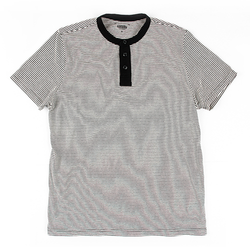 [콘보이] STRIPE COTTON 1/2 HENLEYNECK IVORY
