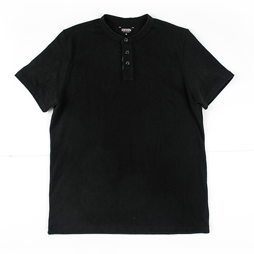 [콘보이] 10'S COTTON 1/2 HENLEYNECK TEE BLACK