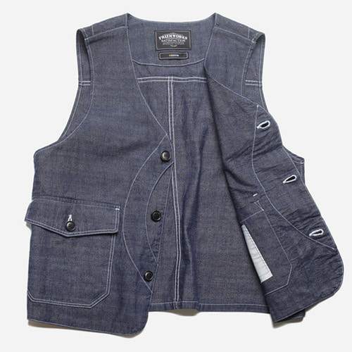 [프리즘웍스]Heavy chambray work vest _ indigo