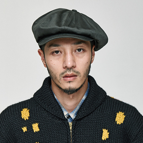 [밀리어네어햇]Rugged fabric newsboy cap [CHACOAL]