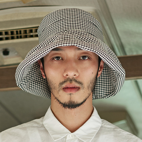 [밀리어네어햇]Rayon gingham check 3pack - (hide your face) over Bucket hat