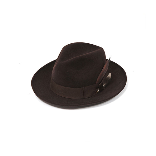 [밀리어네어햇]plume custom classic wool fedora [BROWN]