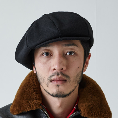 [밀리어네어햇]BIG APPLE [2WAY] - BASIC COLOR NEWSBOY CAP - BLACK