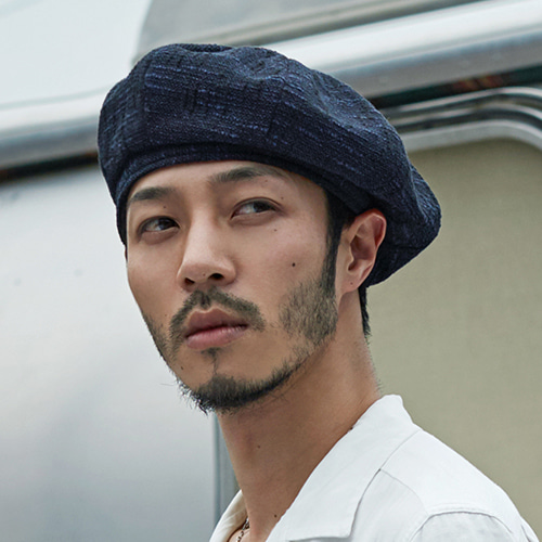 [밀리어네어햇](Linen) octangle beret - BLUE BLACK