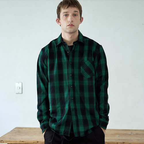 [프레리]STANDARD-FIT TARTAN CHECK SHIRT(Green)