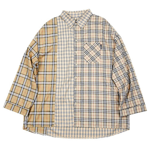 [아조바이아조] Over Check Mixed Shirt (Beige)