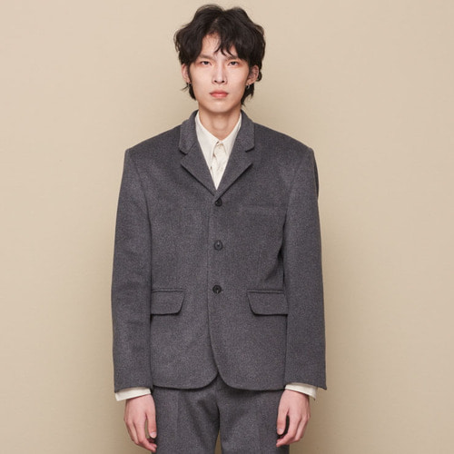 [STU] CUFFS CUTTING WOOL BLAZER