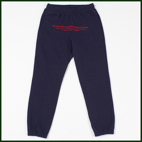 [노메뉴얼]heavy embroider sweat pants NAVY