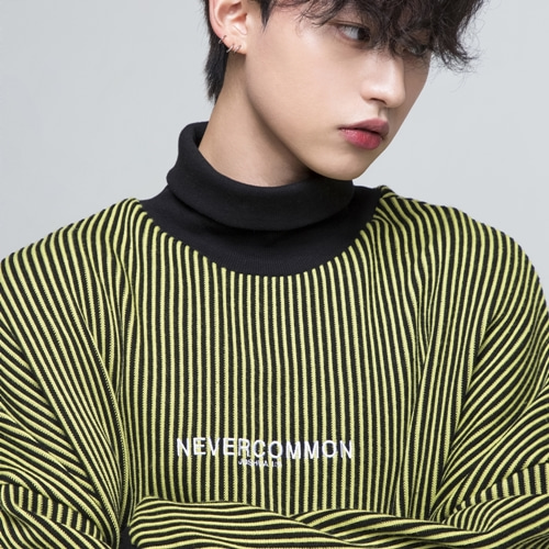 [네버커먼] oversized vertical stripe knit (black/yellow)