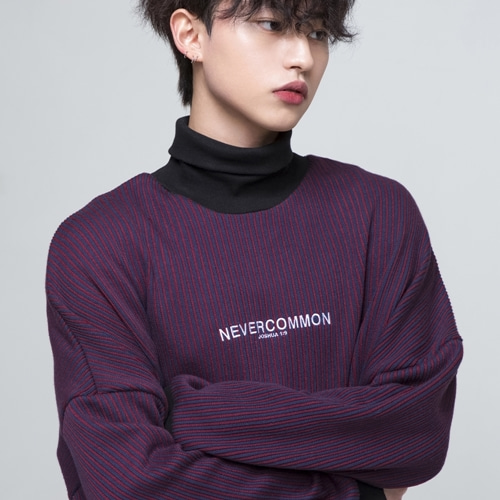 [네버커먼] oversized vertical stripe knit (burgundy/navy)