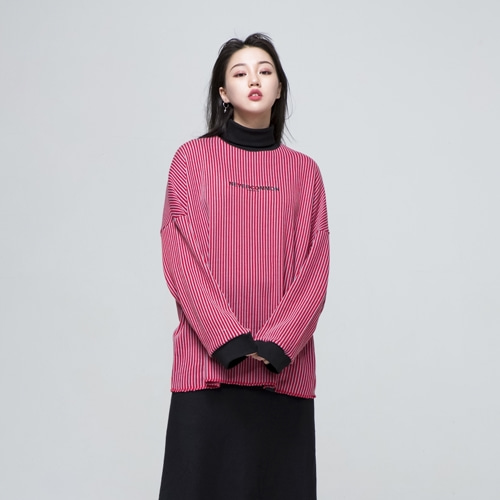[네버커먼] oversized vertical stripe knit (red/gray)