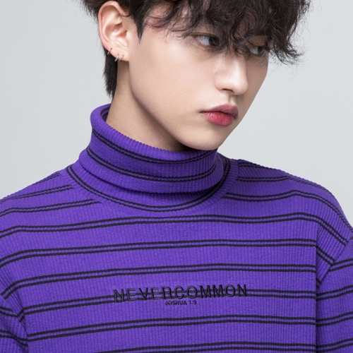 [네버커먼] stripe turtle neck (violet)