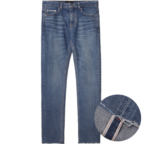 [모디파이드]M#1491 cutted blue selvedge crop jeans