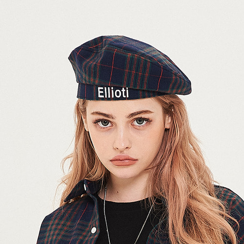 [엘리오티] Ellioti Check Beret_Navy