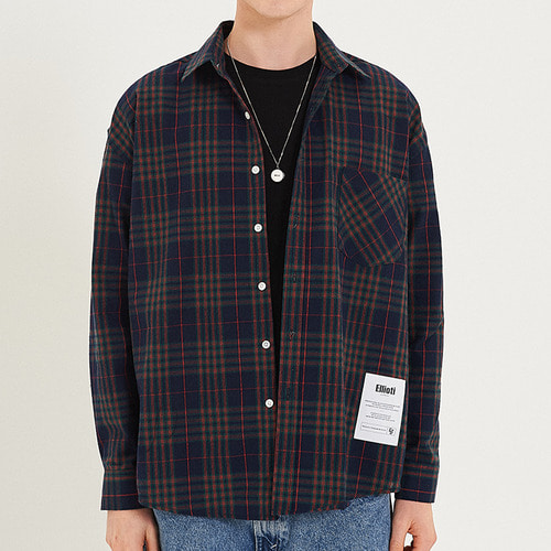 [엘리오티] Ellioti Overfit Check Shirts_Navy