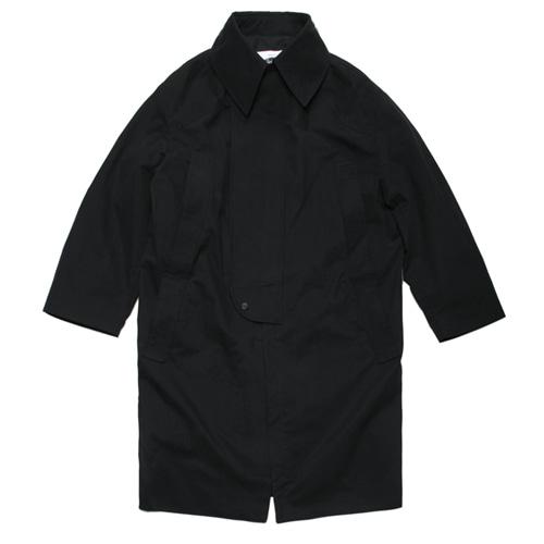 [콰이어티스트]Over-Fit Double Placket Long Coat BLACK