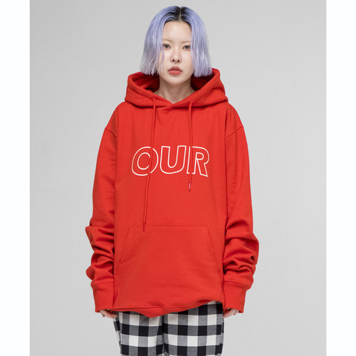 [아워히스토리]OUR Logo Hood T-shirt_Red