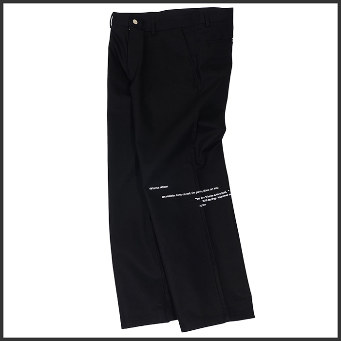 [노매뉴얼]EMBROIDERED WIDE PANTS - BLACK