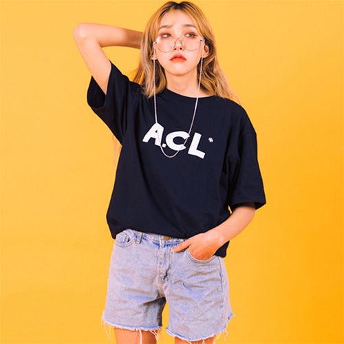 [A.Clown(에이클라운)]A.CL Basic Logo Half-Tee NAVY