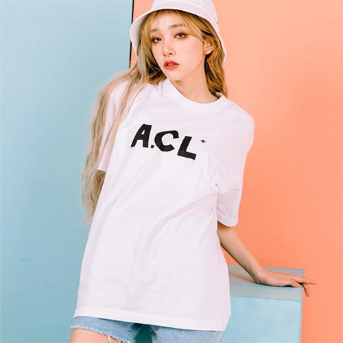 [A.Clown(에이클라운)]A.CL Basic Logo Half-Tee WHITE