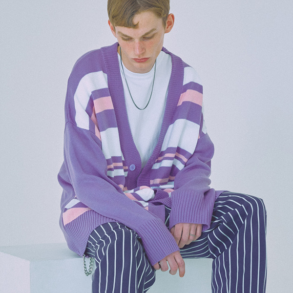 [우조]18 SS 3 stripe overfit long cardigan  (purple)