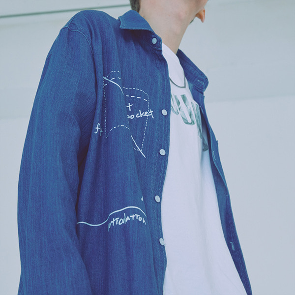 [우조]18 SS 27 overfit denim graphic neck shirt (denim)