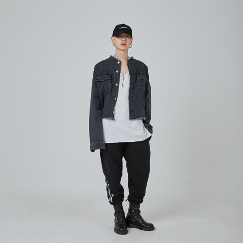 [이노반트]black washed crop jacket