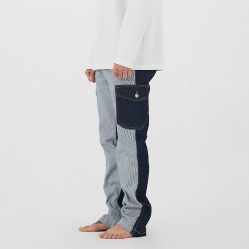 [이노반트]unbalance cargo denim pants(blue)