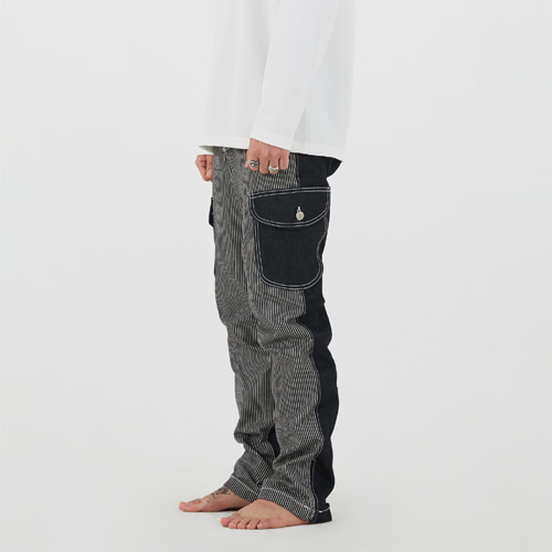 [이노반트]unbalance cargo denim pants(black)