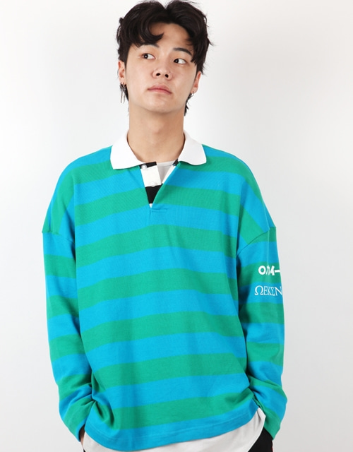 [윅스눕] STRIPE OVERFIT PK SHIRTS - BLUE+GREEN