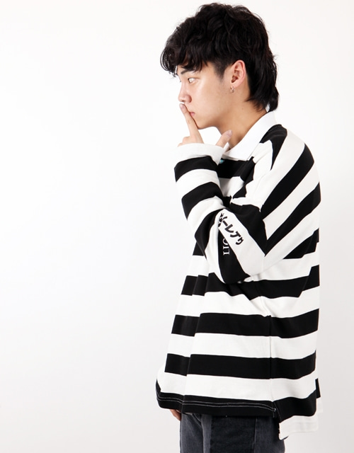 [윅스눕] STRIPE OVERFIT PK SHIRTS - BLACK+WHITE