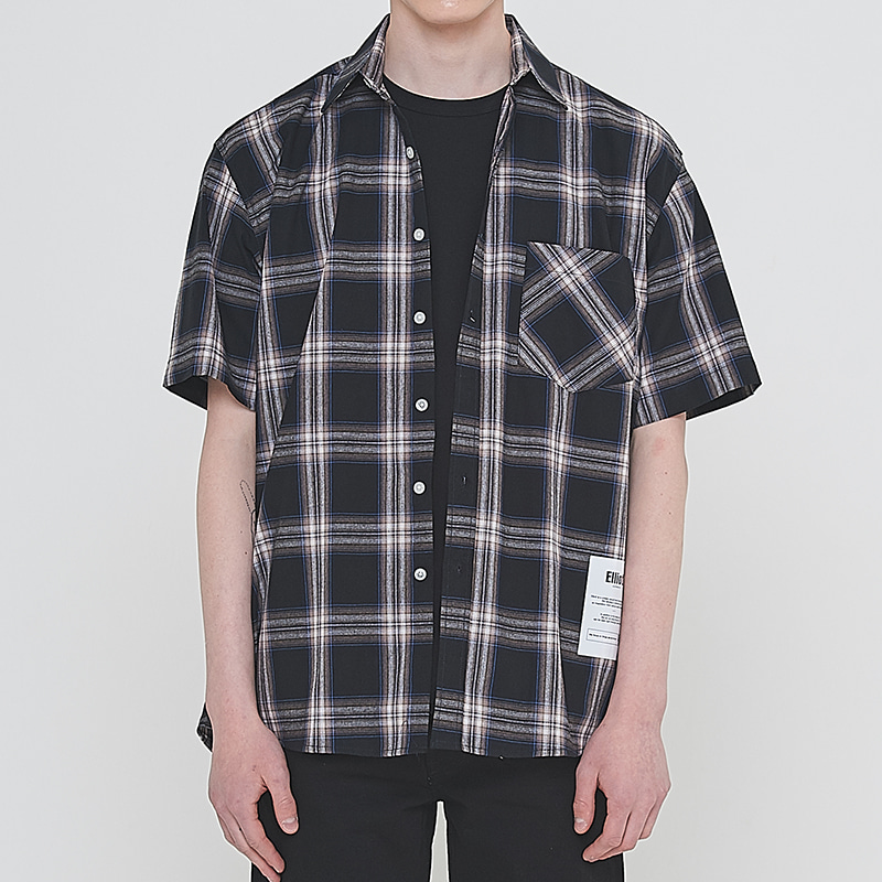 [엘리오티] Ellioti Half Check shirts_Black